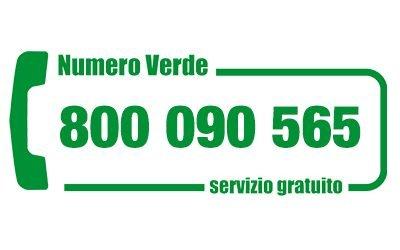 800 090 565 numero verde gratuito attivo 7 giorni su 7 dalle ore 8,00 alle 21,00